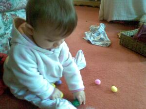 practising that pincer grasp with pom-poms!
